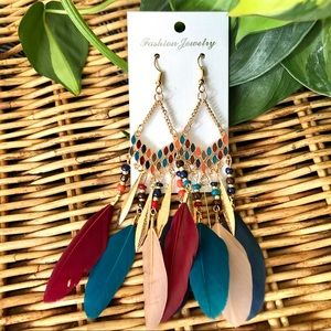 Colorful Bead and Feather Bohemian Style Earrings